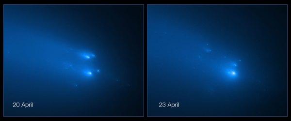 Rozpad komety ATLAS očima Hubbleova teleskopu.