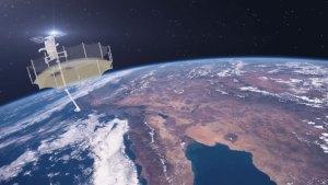 Umělecká představa družice Sequoia s rozloženou radarovou anténou.