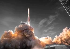 Start rakety Vulcan v představách umělce.