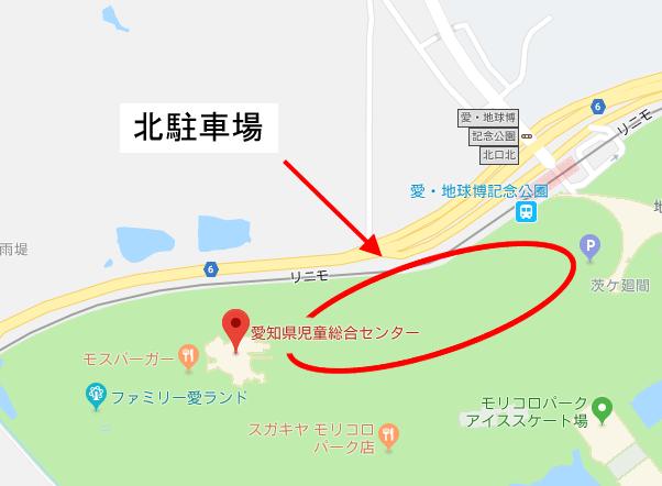 児童館(愛知県児童総合センター)の場所と北駐車場