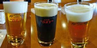 工場見学ツアー後の試飲のビール3種類