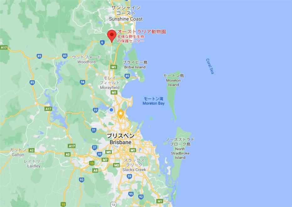 ブリスベンとAustralia Zoo の位置が入っている地図の写真