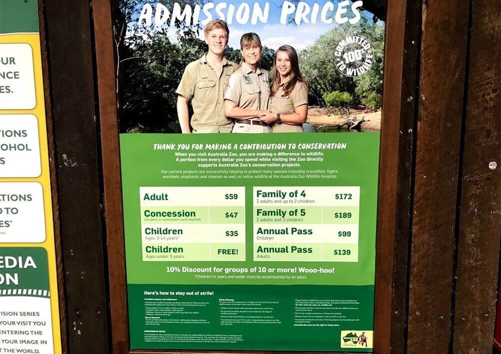 Australia Zoo の料金表と詳細