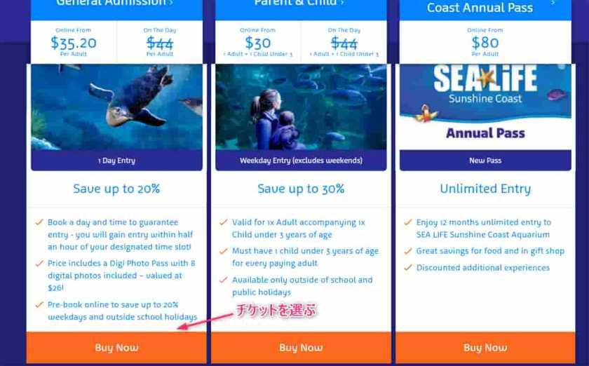 【SEA LIFE】のチケット購入ページ上のチケット購入手順のオーバーレイ付き画像