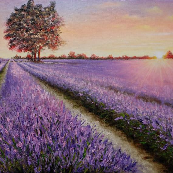 Картина маслом «Лавандовый закат» (40х60см)