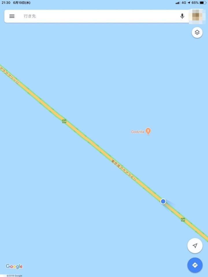 Googleマップ 東京湾アクアライン Godzilla