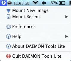 Deamon Tools Lite Menu