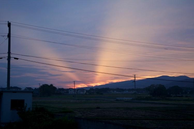 池谷駅からの夕焼け