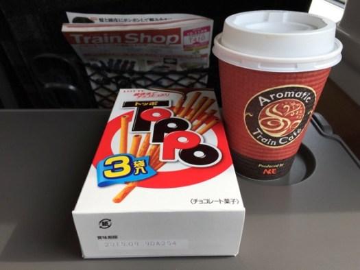 フレッシュひたちで食べるトッポとコーヒー