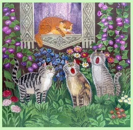 коты поют рисунки