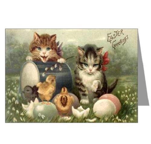 открытка с пасхой коты винтаж
