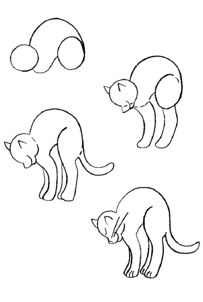 котик выгибается урок рисования