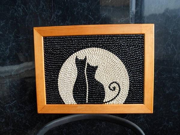 панно из фасоли коты (1)