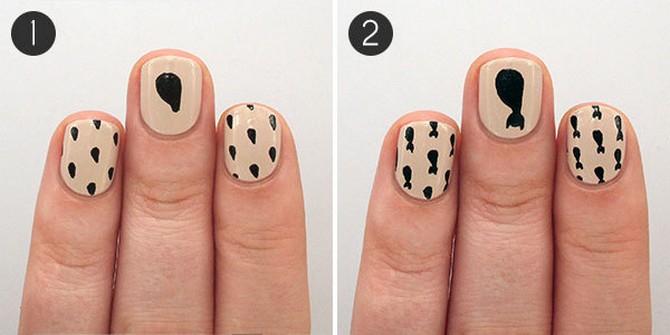 как нарисовать кота на ногтях (3)