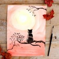 Как нарисовать кота акварелью
