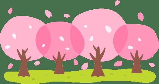 Ilustrasi pohon-pohon Sakura