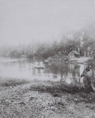 A ferry across the 'Padang'-river in Deli, Sumatra (1898)