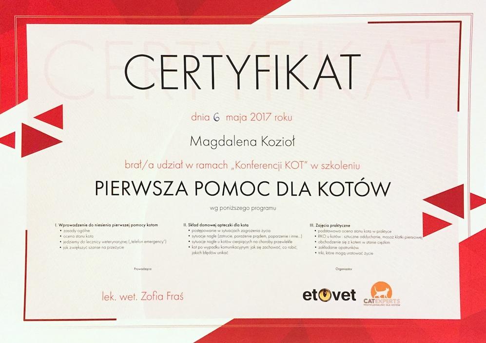 Certyfikat - Pierwsza Pomoc Dla Kotow