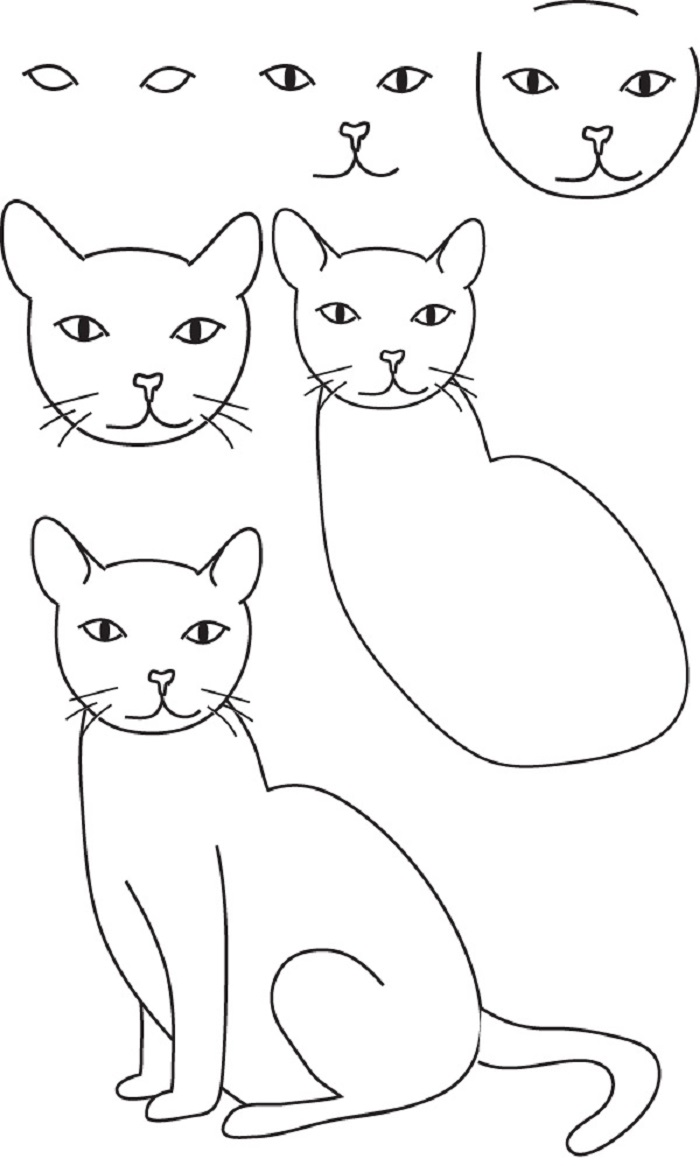 Картинки, кошки рисунки для детей карандашом