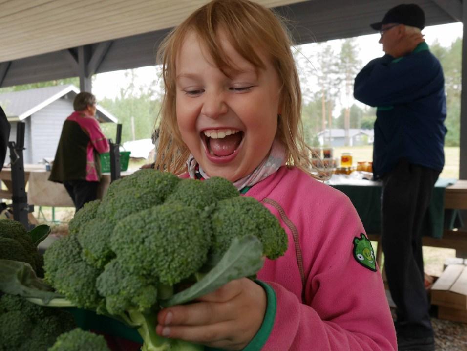 Vaivion Salmilammen rannan kylätorilta saattoi ostaa vaikkapa Iinan kauppaamia parsakaaleja.