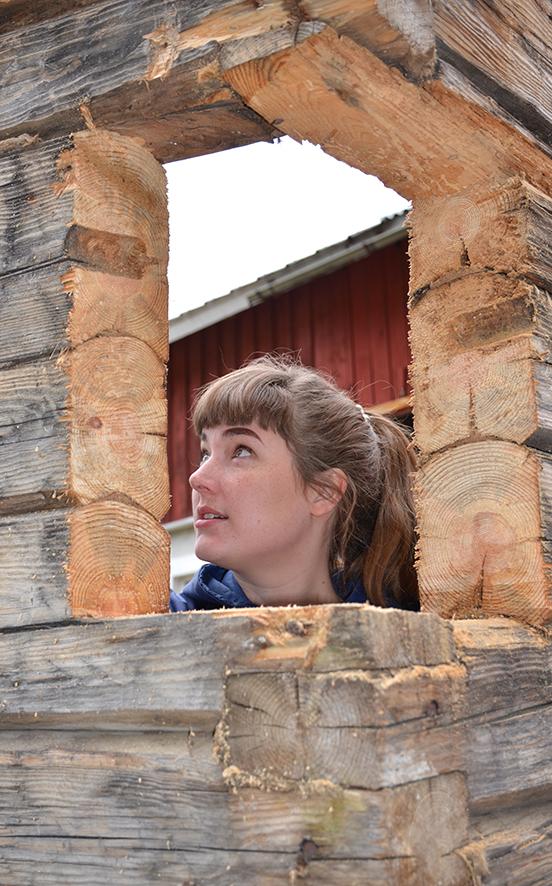 Leena Reittu työstää ympäristötaideteoksessaan vanhaa hirttä.