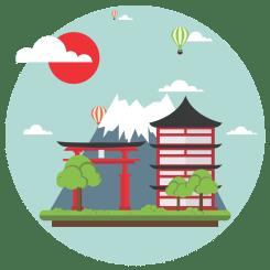kotoba imagem com icones e características do japão