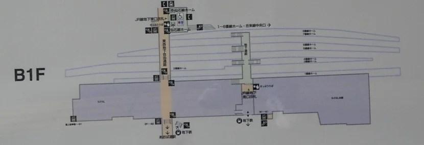 仙台駅地下一階(B1F)の構内図の写真