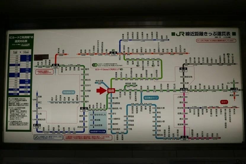 東北本線と仙石東北ラインの路線図と運賃の掲示板の写真