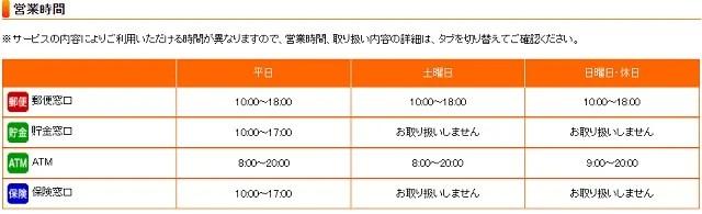 JR仙台イーストゲートビル郵便局の営業時間