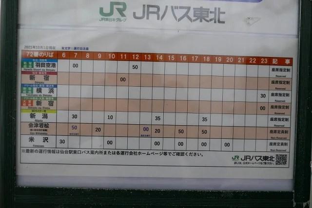 72番乗り場の時刻表