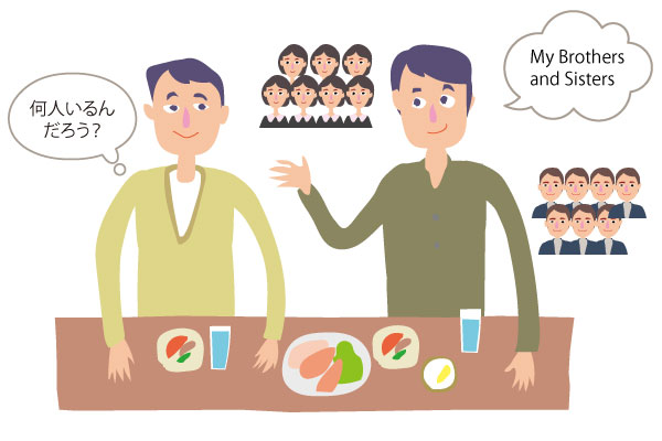 My brothers and sisters.「何人いるんだろう?」といぶかる聞き手。