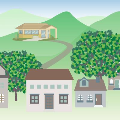 山にある介護施設のイラスト