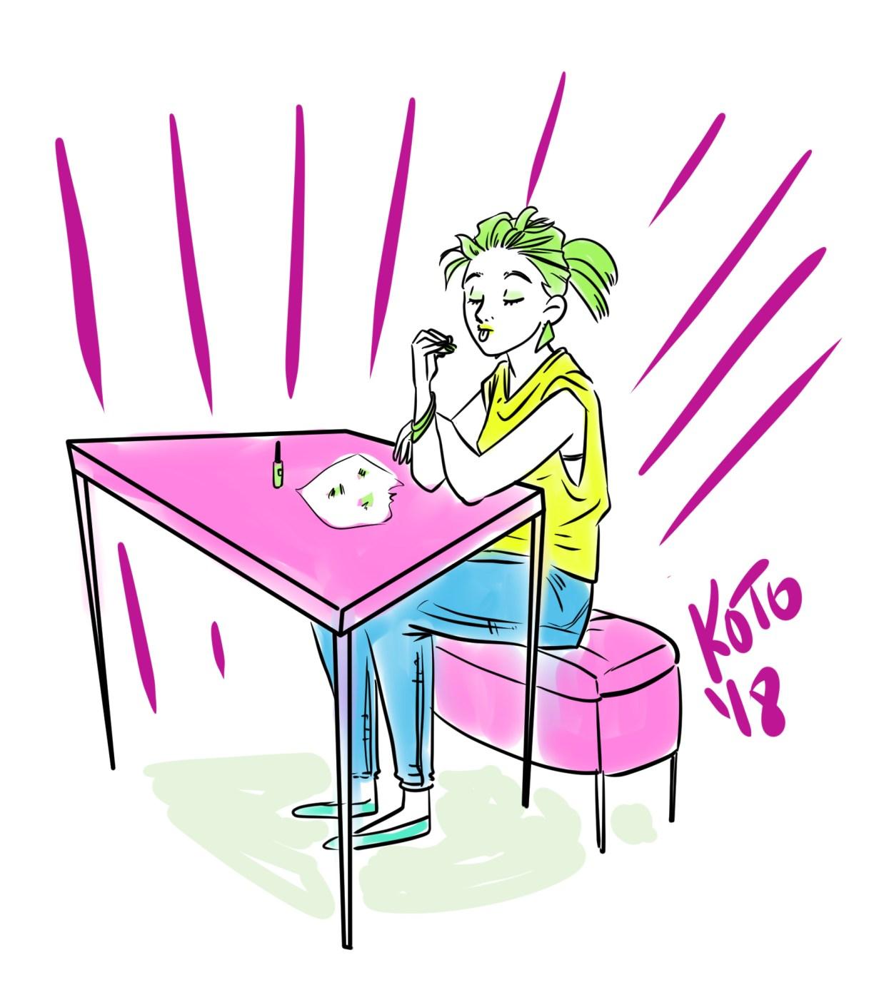 illustration kotopopi drawing girl nail polish