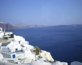 A fine example of the cycladic architecture on the caldera, looking at the volcano, in Oia.