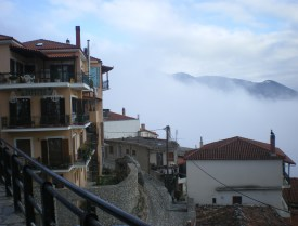 Clouds covering the village like a gossamer veil.