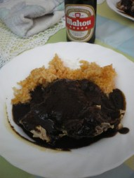 "Delicious Mexican lunch cooked by my classmates, chicken with rice and ""mole"" sauce all over the plate! I was told ""mole"" sauce even included chocolate and peanut, making a total of around 20 ingredients! Comes as a package with Mahou beer (Spanish)."