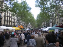 Rambla on its most crowded day of the year, Sant Jordi's day (23rd of April). People buying books of all kinds, while at the second kiosk on the left you can see the Catalan Independentist flag (blue estelada).