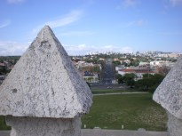 View to the city from Belém Tower's crenelations.