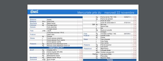 mercuriale par fournisseur CHR