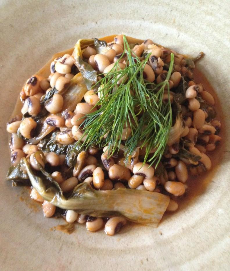 Black eye beans with chard