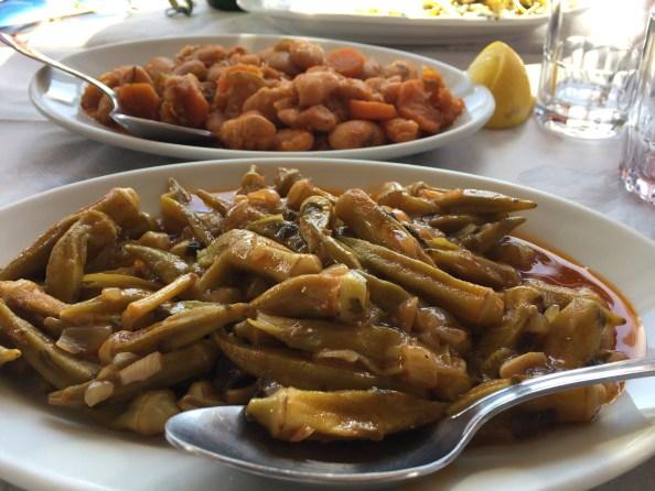 Traditional Greek stewed okra