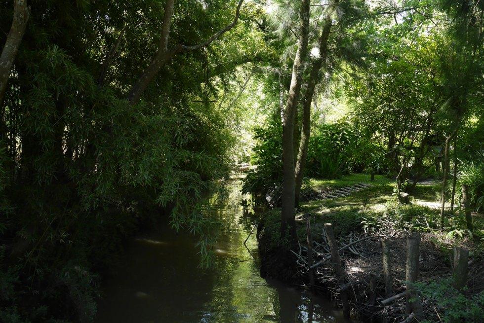 chemin au bord de l'eau, a Las Tres Bocas, dans le delta du Tigre, en Argentine
