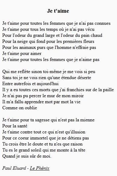 Je t'aime - Paul Eluard