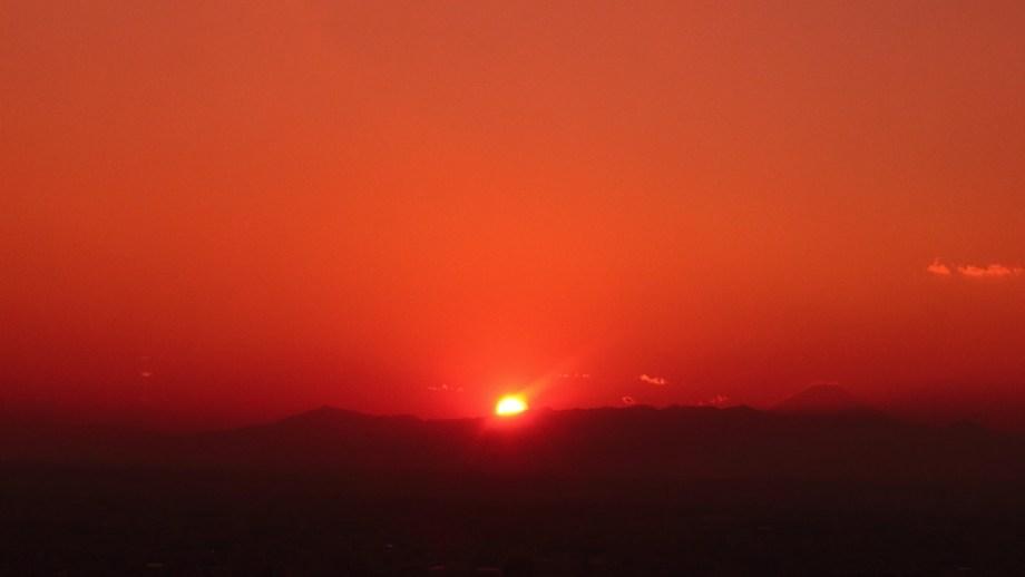 元旦の夕日と富士山