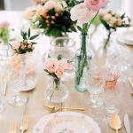 mesas rosadas y cuberteria, catering madrid