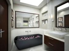 Monochrome-bathroom-with-black-tub-and-mirrors