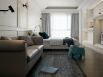 Palatial-bedroom-includes-leather-sofa-and-built-in-assymetric-wall-shelving-900x675