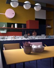 pot-rack-colorful-accent-wall-colorful-kitche-counters