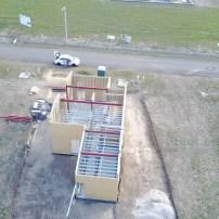 Acélszerkezetes családi ház vázszerkezet fotói dróntávlatból
