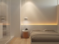LED-lights-drop-pendant-bedroom-cheap-accent-wall-ideas